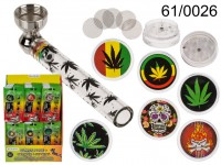 Glass pipe with metal head, incl. grinder & ...