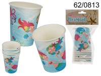 Party Paper cup, Mermaid, ca. 250 ml, 6 pcs. in ...