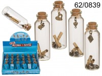 Glass vial with cork fastener & pendant + 2 paper ...