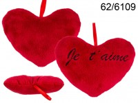 Red plush heart, Je t' aime, ca. 18 cm, 1152/PAL