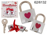Silver coloured love lock with red heart, ca. X x ...
