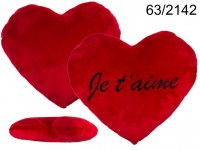 XXL-Red plush heart, JE T'AIME, c a. 60 cm, 54/PAL