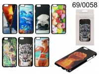3D plastic cover, Motives, for iPhone 6, 8 ass., ...