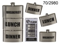Metal Flask, Breakfast-Lunch-Dinner,  for ca. 3 x ...