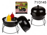 Condiment holder, kettle BBQ, with plastic salt & ...