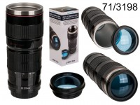 Plastic mug, big Camera lens with stainless steel ...