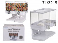 Double plastic cereal dispenser, on base, ca. 7,5 ...