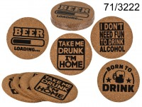 Cork coasters, Slogans, D.: ca. 10 cm, set of 4, ...