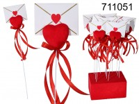stick, red heart covered with velvet & envelope, ...