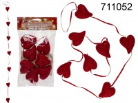 Plastic garland, Heart with glitter, ca. 120 cm, ...