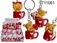 Metal keyring, polyresin bear in mug, ca. 4 cm, 4 ...