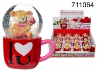 Polyresin glitter globe, bear in mug, I love you, ...
