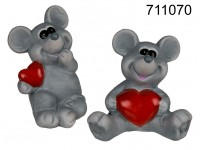 Grey ceramic mouse with red heart, sitting, ca. ...