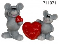 Grey ceramic mouse with red heart, standing, ca. ...