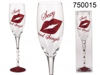 Champagne glass with red glitter printing & red ...