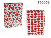 White paper gift bag with heartdecor, ca. 25 x ...