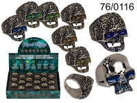 Mood Ring, Skull, 4 sizes, 2 ass., 18 pcs. per ...