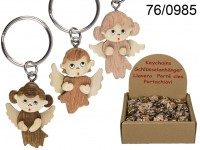 Metal keychain, Natural wood Angel, ca. X cm, 3 ...