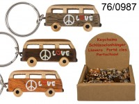 Metal keychain, Natural wood Hippie Van, ca. 4 ...