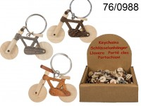 Metal keychain, Natural wood Bicycle, ca. 6 cm, 3 ...