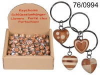 Metal keychain, Natural wood Mini Hearts, ca. 4,5 ...