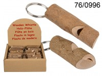 Metal keychain with natural wood whistle, Stem, ...