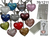 Keyring, glass heart, in gift box, 12 ass., 36 ...