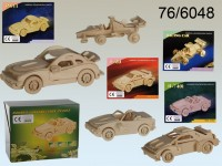 Natural Wooden 3D Puzzle, Cars, ca. 4 x 15 cm, 4 ...