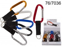 Metal Carabiner with Keyring, 6 colours ass., ca. ...