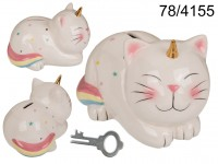 Savings bank with lock, Unicorn Cat, ca. 17 x 12 ...