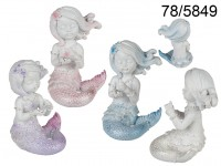 Sitting Polyresin Mermaid with Pearl & Glitter, ...
