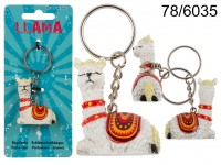 Polyresin Llama with metal key chain, ca. 4 cm, ...