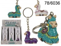 Polyresin Llama with metal key chain, ca. 4 cm, 3 ...