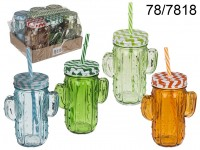 Drinking glass, Cactus , with grips + metal lid & ...