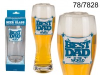 Beer glass, Best Dad, for ca. 750 ml, H: ca. 24 ...