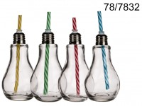 Drinking glass, Bulb, with metal thread closer & ...