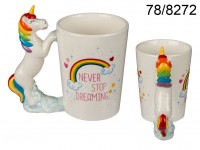 Mug with unicorn figurine handle, Never stop ...