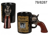 Ceramic mug, Wanted Poster with revolver handle, ...