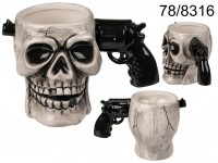 Mug, Skull with gun handle, ca. 17 x 11 cm, ...