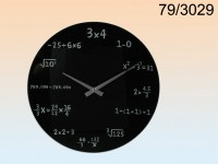 Black glass-Wall Clock, Mathematic, ca. 35 cm, ...