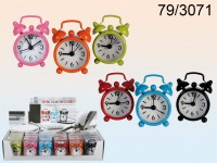 Metal alarm clock, Colours, ca. 6 x 4 cm (incl. 1 ...