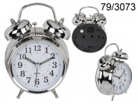 Metal Alarm Clock, Chrome, ca. 18 x 12 cm, for 2 ...