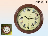 Wall Clock with bird sound, D: 33 cm, plastic, ...