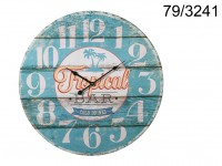 Wooden Wall Clock, Tropical Bar, D: ca. 58 cm, ...
