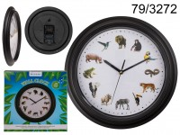 Wall Clock with animal sound, D: 32 cm, plastic , ...