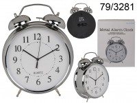 Metal Alarm Clock, Chrome, ca. 21 cm, for 1 mono ...