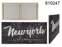 3D canvas print, New York, Linen on wooden frame, ...