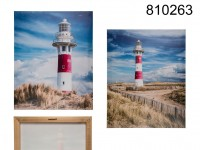 Canvas print, lighthouse, linen on wooden frame, ...