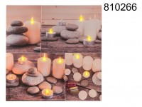 Canvas print, with 10 LED, stones & tealights, ...