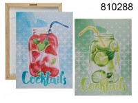 Canvas print, Cocktails, linen on wooden frame, ...